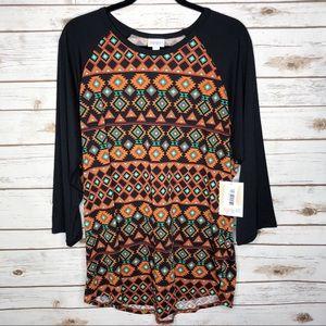 Lularoe Randy 3/4 sleeve t shirt NWT black orange